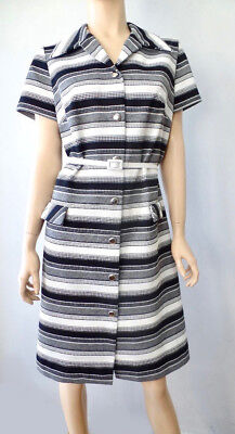 Vintage 60s 70s Mid Century Mod Black white gray Striped Poly Shirt Dress M