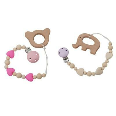 Baby Infant Wooden Dummy Clip Pacifier Chain Shower Gift for Girls&Boys LA
