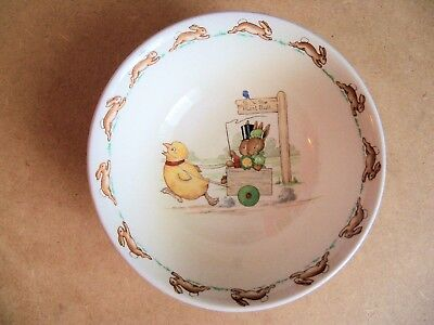 Royal Doulton Bunnykins  CHICKEN PULLING A CART COLLECTOR BOWL