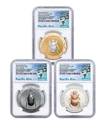 2017 Cook Is Scarab Beetle 3-Coin Set HR 1 oz Silver NGC PF70 UC ER SKU51680