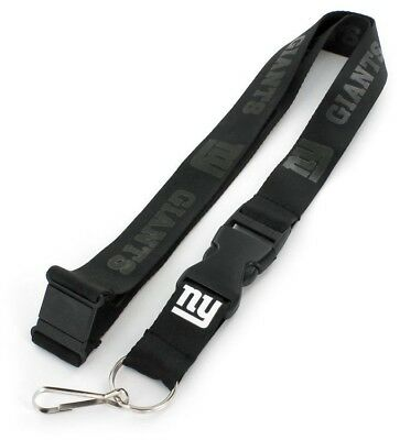 New York Giants NFL Black on Black Lanyard Key Ring Keychain w/ Safety Clip