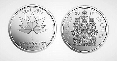 Canada 2017 Pair of Canada 150 Fifty Cent Pieces Commemorative & Plain Set!!