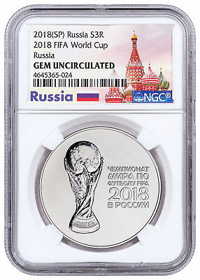 2018 Russia FIFA World Cup 1 oz Silver 3 Ruble NGC GEM Unc Excl Lbl SKU51721