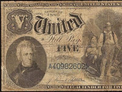 Large 1880 $5 Dollar Bill Blue Number United States Legal Tender Woodchoper Note
