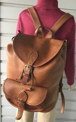 Vintage HTF Large Custom Made Brown Heavy Duty Aged Leather Back Pack .