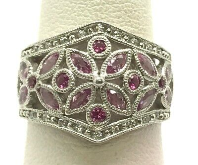 Vintage Style Sterling Silver Pink Sapphire Floral Pattern Wide Cocktail Ring