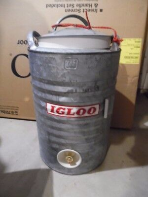 Vintage Igloo 5 Gallon Cooler Galvanized Tailgating Man Cave Very Clean