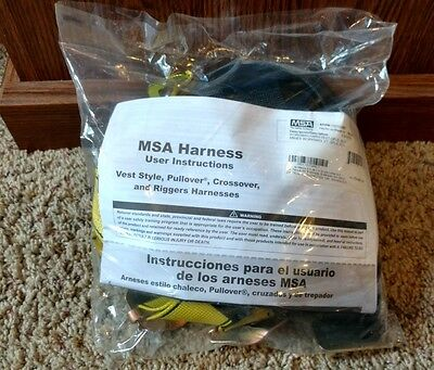 MSA Safety Harness Vest Style Pullover Crossover Riggers 10072480 Brand New