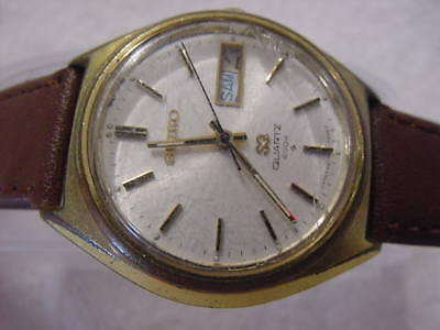 Vintage GOLD PL large antique Art Deco SEIKO SQ 4004 mens watch  . NR