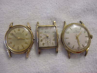 Lot of 3 Vintage GOLD FD antique Art Deco BULOVA HELBROS + mens watch watches NR