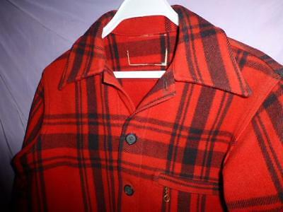Vtg 40s 50s Mackinaw Jacket shirt Red Black Buffalo Plaid Wool Hunting fishing
