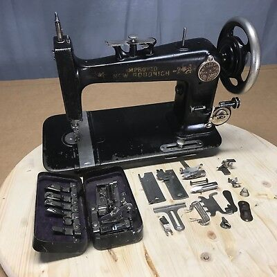 Treadle Sewing Machine Foley & Williams Improved Goodrich + Attachments Antique