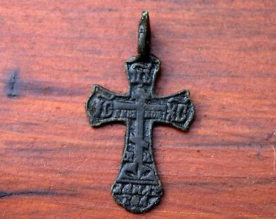 Small Ancient Medieval Middle Ages Bronze Cross Pendant Artifact #68