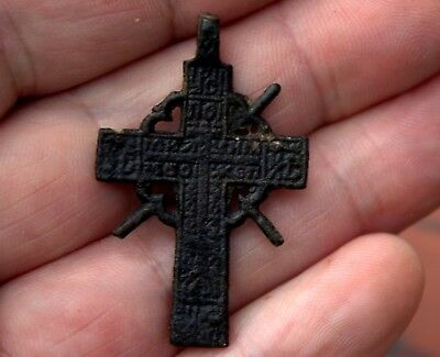Ancient Medieval Middle Ages Bronze Radiant Cross Pendant Artifact #70
