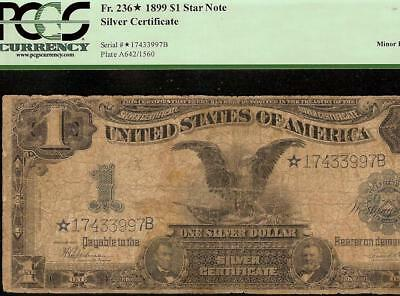 LARGE 1899 $1 DOLLAR BILL SILVER CERTIFICATE BLACK EAGLE STAR NOTE Fr 236* PCGS