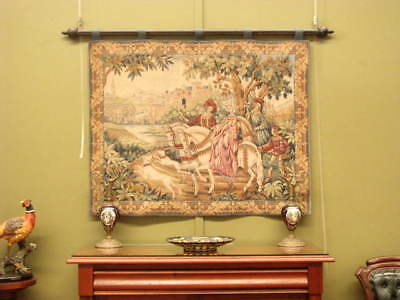 Large Woven Tapestry Wall Hanging On Wooden Pole ~ Suit Antique, French, Country