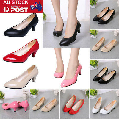 AU Women Lady Low Mid Kitten Heel Court Work Office Leather Pumps Shoes Sandals