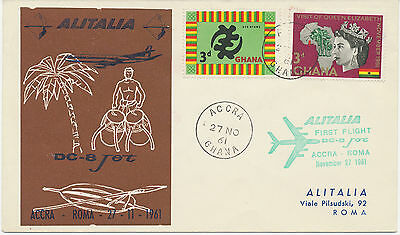 """GHANA 1961 rare First Flight w. Alitalia """"ACCRA - ROM"""", only a few covers flown"""
