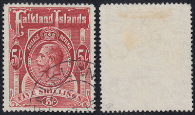 KOLONIE FALKLAND ISLANDS 5sh King George V 1912 Mi 32 SG 67 LUXUS sig. €150