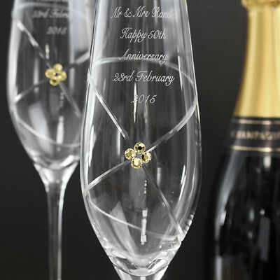 Personalised Champagne Flutes Made with Swarovski Elements Wedding Anniversary