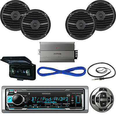 """Kenwood 600W Boat Amplifier,Bluetooth CD Radio,Cover,Antenna,6.5"""" Speakers/Wires"""