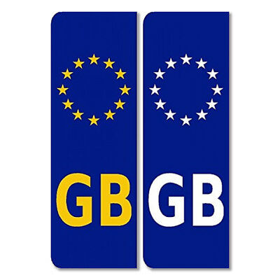 Pair-GB Euro stickers for Car Reg Plates Legal European Car Badge Vinyl EU