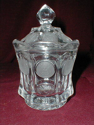 Fostoria Glass Clear COIN Covered Candy Dish w Lid