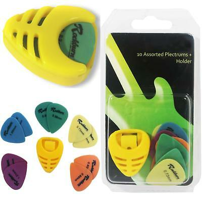 Rockburn Plectrum Holder with 10 Assorted Picks Plec Acoustic Electric Guitar
