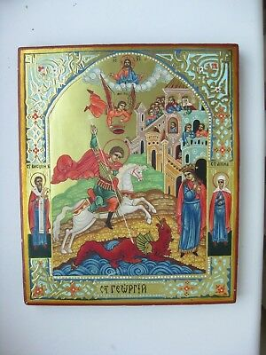 Russian  wood icon   St. George