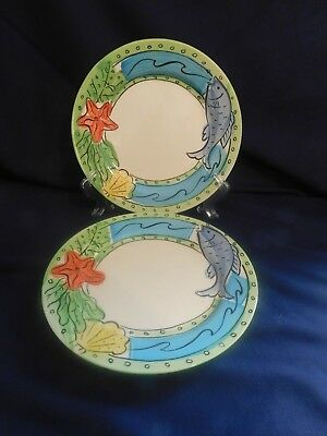 Sango China Hand Painted Key West 6101 Dinner Plates - 2 -A