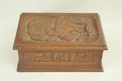 Vintage Hand Carved Mexican Taxco Aztec Art Wooden Box Signed Rosa Torez
