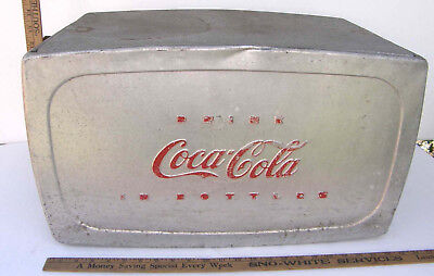 VINTAGE PROGRESS COKE COCA-COLA ALUMINUM A-35 TRUNK CARRIER PICNIC COOLER c1950