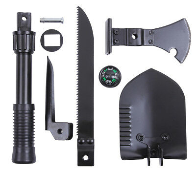 Black 5-In-1 Multi Purpose Military Tool set Shovel Axe Saw Pick Rothco 40