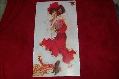 Vintage Beer Poster BUDWEISER GIRL Victorian Dressed Girl 14 3/4 x 27 1/4 Inches