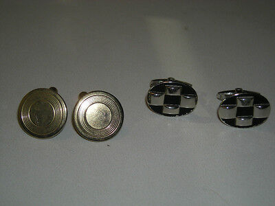Two pair Vintage Cufflinks black and chrome Fosters circles goldtone not signed
