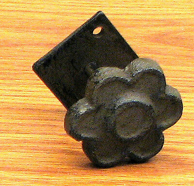 Set of 6 Antique Replica   Flower w/Base  Drawer Pull Knob Cast Iron Brown