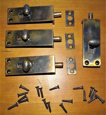 Vtg Antique Hoosier Cabinet Cupboard Door Latch Slide Barrel Lock Set Hardware