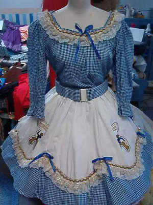 Square Dance Blue/white Gingham Blouse,skirt- Belt, Vest, Purse, Pettis  Sz. L