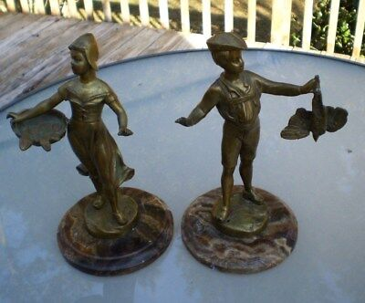 ANTIQUE SOLID BRONZE PAIR of BOY & GIRL w/ GAME STATUES -HUNTING & FISHING THEME