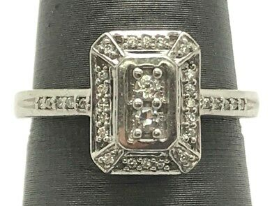 Antique Style Sterling Silver 925 Round CZ Pave Rectangular Cocktail Band Ring