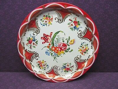 """Beautiful Vintage Daher Decorated Ware Floral Tin Tray England 12.5"""" Round"""