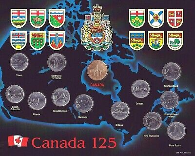 1992 Canada 125th Anniversary Provincial 13 Coin Set in Mint Condition!!