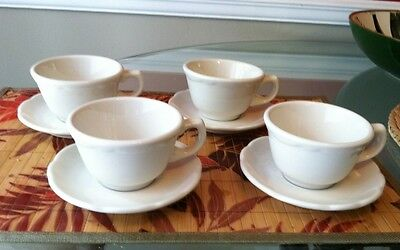 1950's Vintage Buffalo China White Scalloped Edge 4 Sets  8 Oz. Cup And Saucer