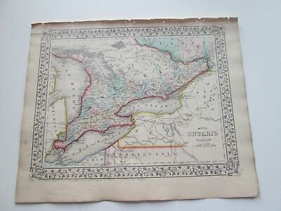 1871 ANTIQUE MAP of ONTARIO, CANADA, IN COUNTIES, (PLUS) S. AUGUSTUS MITCHELL