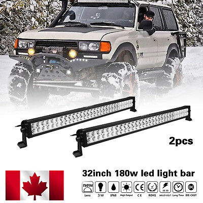 2x 32inch 180W LED Light Bar Combo Beam Work Offroad Truck Boat SUV 4WD Fog Jeep