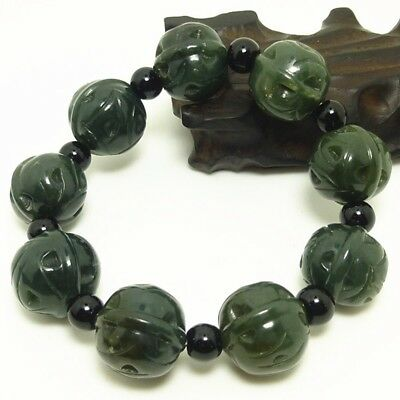 Natural Nephrite Green Olive Jade Sinkiang Hand Carved Walnut Beads Bracelet T8