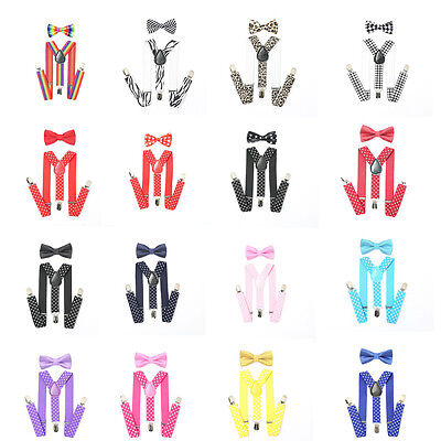 Y Back Suspender and Bow Tie Set for Baby Toddler Kids Boys Girls Children New
