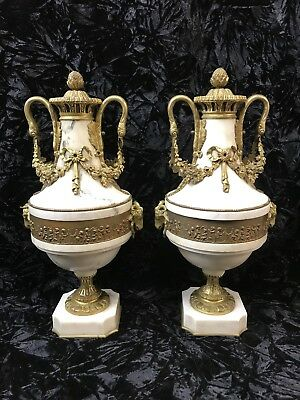 Pair Antique Louis XVI Style French White Marble Gold Gilt Bronze Baluster Urns