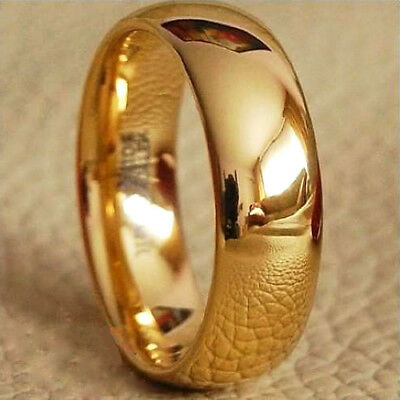 Gold Plated Tungsten Ring Mens & Womens Classic Wedding Band Anniversary M56