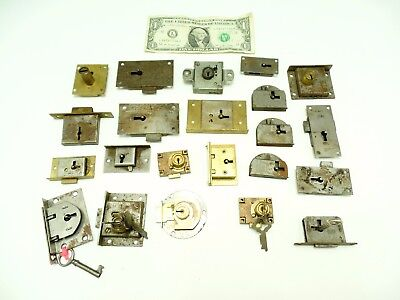Vintage cabinet lock-antique desk locks-furniture latch- skeleton key hardware